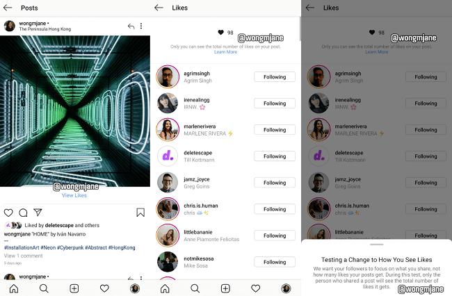 Test para ocultar el número de likes en Instagram